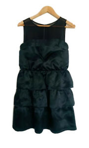 Reiss-Black-A-Line-Dress-Silky-Mesh-Ruffles-Layered-Sweetheart-Neck-Size-10