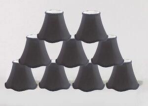 Urbanest Scallop Mini Chandelier Lamp Shades Softback,3&#034;x6&#034;<wbr/>x5&#034;, Black, Set of 9