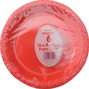 Image is loading 6-x-RED-PLASTIC-PLATES-ROUND-26cm-10-  sc 1 st  eBay & 6 x RED PLASTIC PLATES ROUND 26cm 10