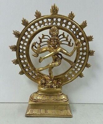 Hindu Lord Shiva Nataraja Lord of Dance Metal Honey Brass Statue Figure #BST163