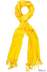 394ae8396 Image is loading 100-CASHMERE-YELLOW-SCARF-WINTER-WRAP-SHAWL-VERY-