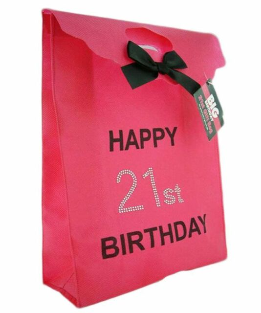 Happy 21st Birthday Glitzy Gift Present Bag In HOT PINK Black Diamante Stones