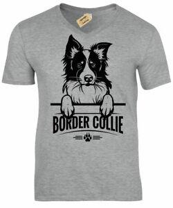 Border-Collie-T-Shirt-Mens-dog-lover-gift-present-V-Neck-Top