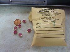 Vintage Swarovski rose  heart rhinesone connector crystal bead drop