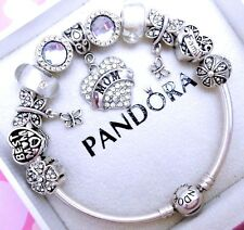 Authentic Pandora Silver Charm Bracelet With Mom Love Family European Charms.