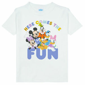 Official Kids Disney Mickey and Friends T-Shirt - Here Comes The Fun Boys Girls