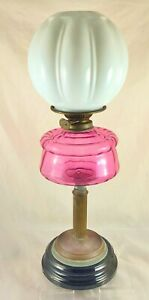 VICTORIAN-VERITAS-LAMP-WORKS-CRANBERRY-GLASS-BOWL-WHITE-SHADE-AND-FLUTE