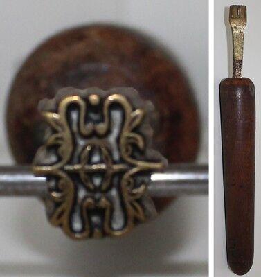 Mooi Très Beau Fer à Dorer Fleuron Romantique Bronze Reliure Dorure Relieur #77 Levendig En Geweldig In Stijl