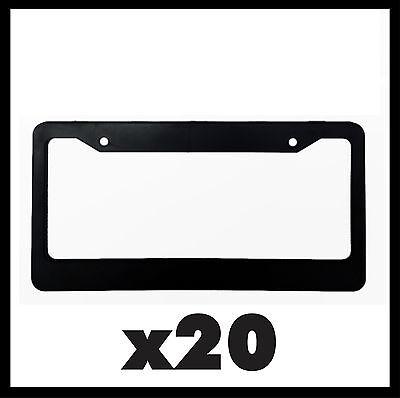 20 Black Blank License Plate Frames- Plain Plastic Cover Tag Holder Black New