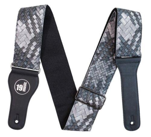 Snake Skin Textured Adjustable Guitar Strap Silver bargain sale premium bass UK