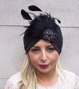 Image is loading Black-Diamante-Feather-Turban-Headpiece-Fascinator -1920s-Flapper- 9a91e584b88