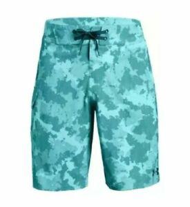 New-Under-Armour-Reblek-Camo-Swim-Board-Shorts-1271514-Teal-Green-Men-039-s-40-60