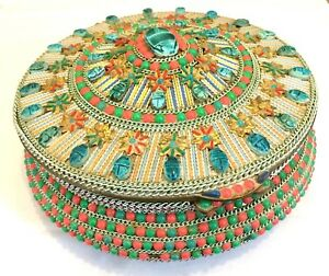 Rare-Vintage-Mosaic-Egyptian-Revival-Large-Scarab-Brass-Jewellery-Sewing-Box