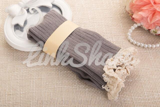 NEW Crochet Lace Trim Cotton Knit Leg Warmers Boot Socks Knee High Stockings