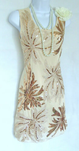 1920/'s style Gatsby Charleston look vintage taille robe sequins tambour 10//12