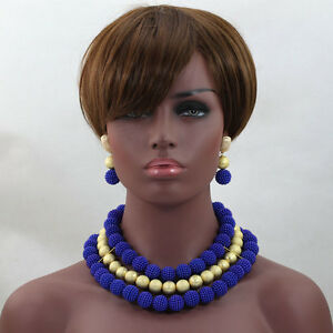 Royal Blue with Gold Ball Wedding Bridal Party African Beads Jewelry Set - Basildon, United Kingdom - Royal Blue with Gold Ball Wedding Bridal Party African Beads Jewelry Set - Basildon, United Kingdom