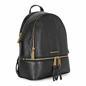 aed92dec376e Michael Kors Rhea Zip Small Backpack MK Signature PVC Black 30h5 for ...