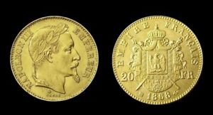 COPIE-Piece-plaquee-OR-GOLD-Plated-Coin-20-Francs-Napoleon-Tete-Lauree-1868-BB