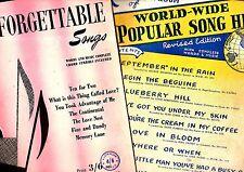TWO EC MOR Sheet Music Books of TOP HIT SONGS Bluebeery Hill SEPTEMBER in RAIN +
