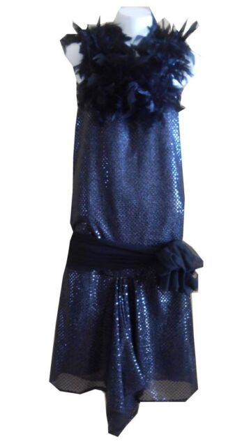 VINTAGE HARAH DESIGNS SEQUINS AND FEATHERS GREAT GATSBY KNEE LENGTH DRESS