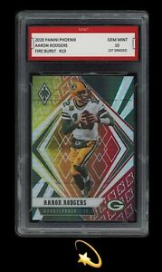 2020-Aaron-Rodgers-Panini-Phoenix-Fire-Burst-1st-Graded-10-Green-Bay-Packers
