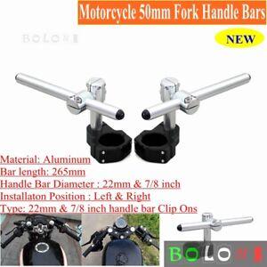 "50mm, 7/8"" Tube, CNC Motorcycle Universal Clip On Fork Handle Bar Handlebars"