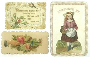 Victorian-Scrap-Lot-Of-3-Cards-Embossed-Floral-Girl-Hat-Flap-Details-Die-Cut