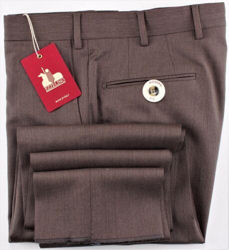 NWT 249$ EZZELINO DRESS PANTS 100s Summer wool brown handmade Italy eu 54 us 38