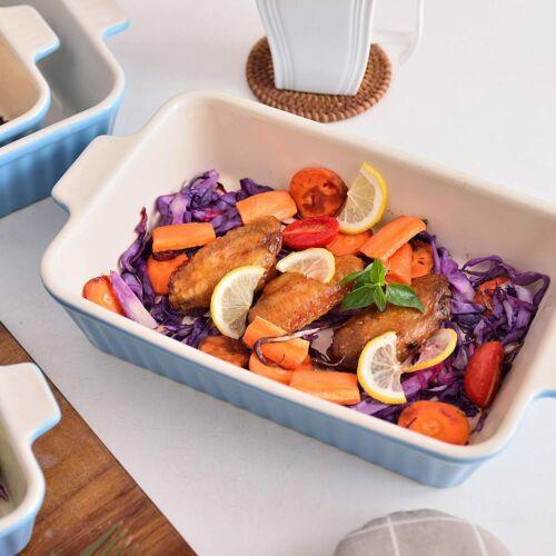 MALACASA 4pcs Large Roaster Tray Baking Pan Roasting Oven Dish Cooking 4 Size