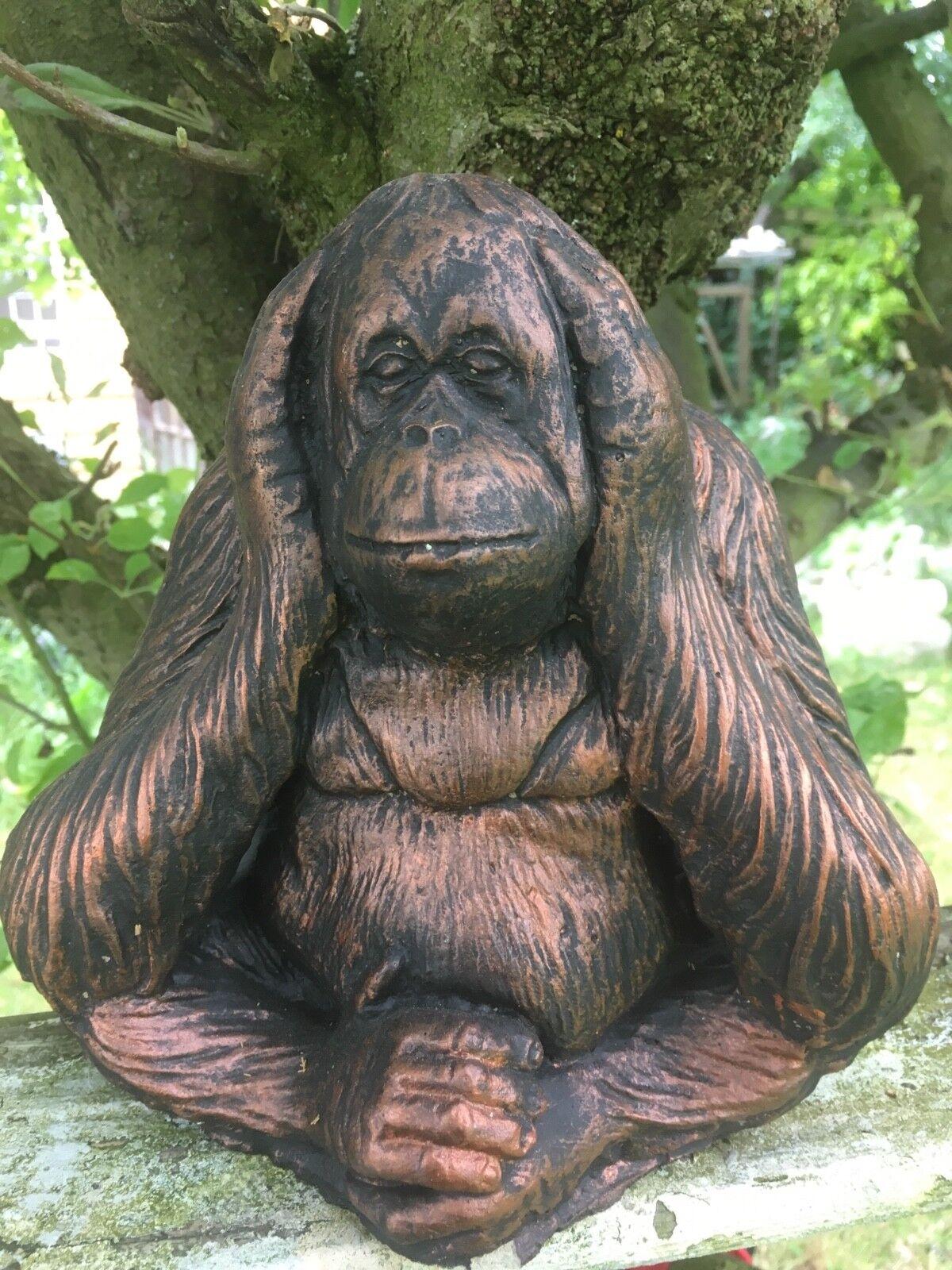 Stone garden ornaments Set of Bronze orangutan wise monkeys monkeys monkeys FREE UK SHIPPPING 408bc3