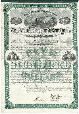NEW YORK & NEW JERSEY The New Jersey & New York Railroad Co Bond 1880