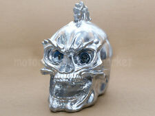 Silver Universal Motorcycle Skull headlight WITH LIGHT IN EYES Resin Custom Lamp