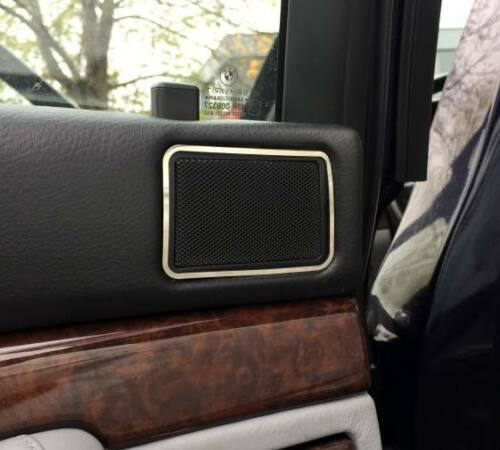 D BMW E38 Chrom Rahmen für Lautsprecher hinten oben Edelstahl poliert