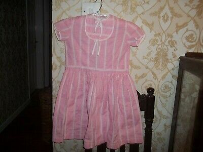 Cordiale Vintage Pink & White Anni 1960 Francese Bambino Vestito-età 5-6-mostra Il Titolo Originale