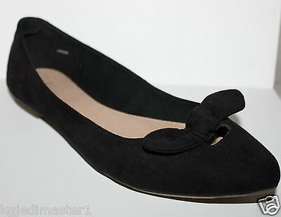 Gap NWT Women's 7 8 9 Faux Suede Black Ballet Flats Shoes w/ Knot Bow at Toe