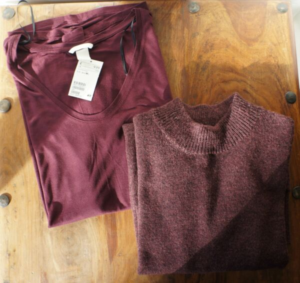 **lot Tee-shirt Ample Et Pull Bordeaux Long H&m** Neuf.. Los Consumidores Primero