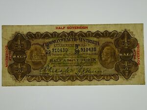 1933-Half-Sovereign-Riddle-Sheehan-Banknote-in-Fine-Condition
