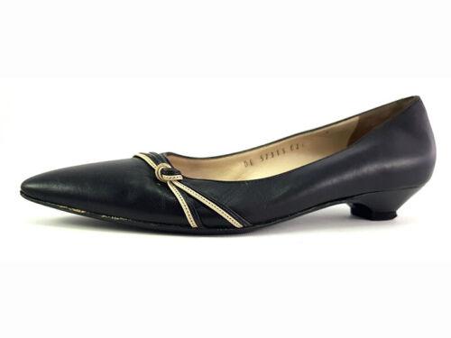 Salvatore Ferragamo Black Leather Kitten Heels, Sh