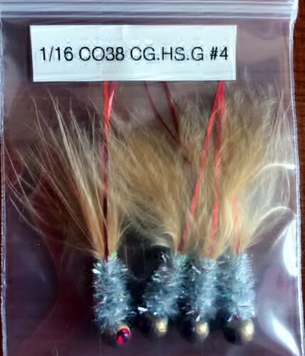 Hand Tied Hackle Tail Crappie Jigs Made in The USA 1//16th Ounce #4 or 6 Hook New