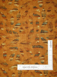 Bird-Owl-Feather-Toss-Warm-Brown-Tonal-Cotton-Fabric-QT-Wise-Thing-By-The-Yard