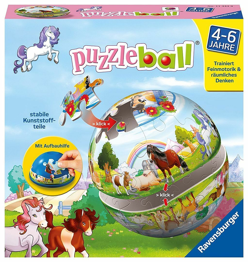 RAVENSBURGER Puzzle Rompicapo Puzzleball 3d CAVALLI PONY PONY CAVALLINO natura