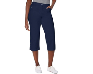Karen-Scott-Cotton-Button-Cuff-Tummy-Control-Capri-Pants-Navy-NWT-6