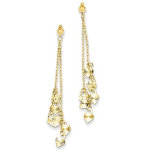 14k Yellow Gold Polished Diamond Cut Dangling Heart Post Earrings 52mm x 9mm