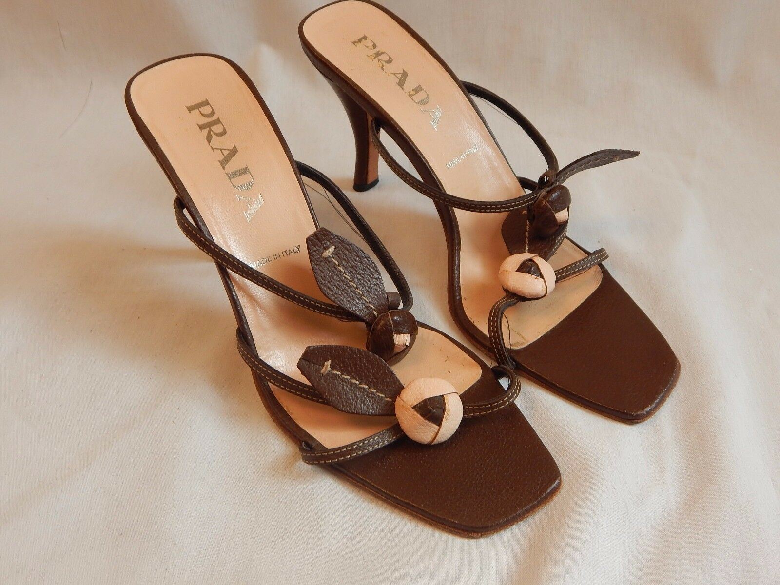 Prada stiletto stiletto stiletto sandals, size 38.5, heel 3.5 , made in italy, brown leather 370183