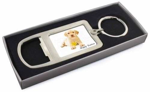 'Happy Easter' Goldie Puppy Chrome Metal Bottle Opener Keyring in B, ADL4DA1MBO