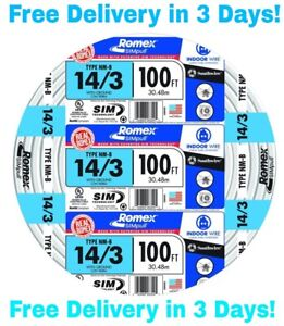 14-3-W-GROUND-ROMEX-INDOOR-ELECTRICAL-WIRE-100-039-FEET-ALL-LENGTHS-AVAILABLE
