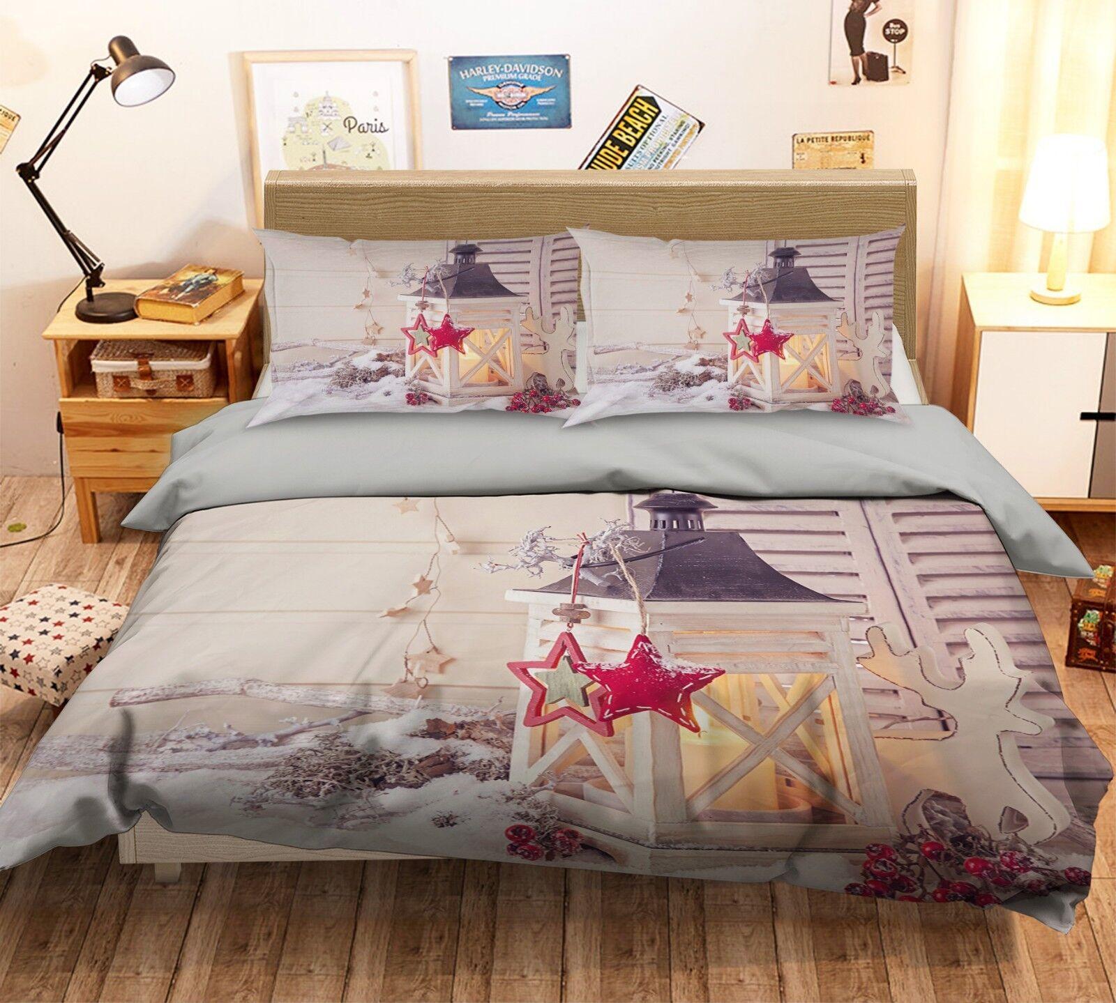 3D Christmas Xmas Star 7 Bed Pillowcases Quilt Duvet Cover Set Single Queen AU