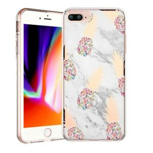 bdbd720ac1 iPhone 8 7 Plus Case Shiny Marble Pineapple Clear TPU Bumper ...