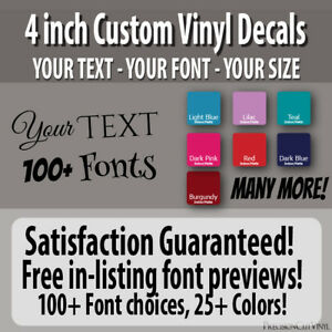 4 In Custom Vinyl Lettering Text Vinyl Wall Decal Window Sticker