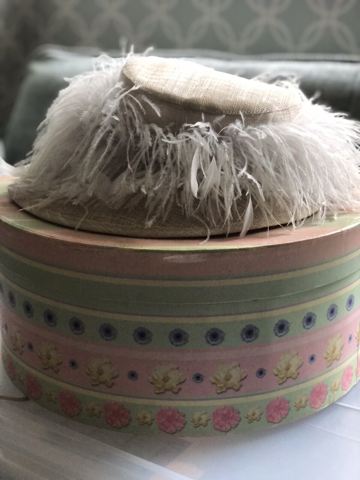 Mad Hatters Feather Wedding Hat With Box Natural / Ivory